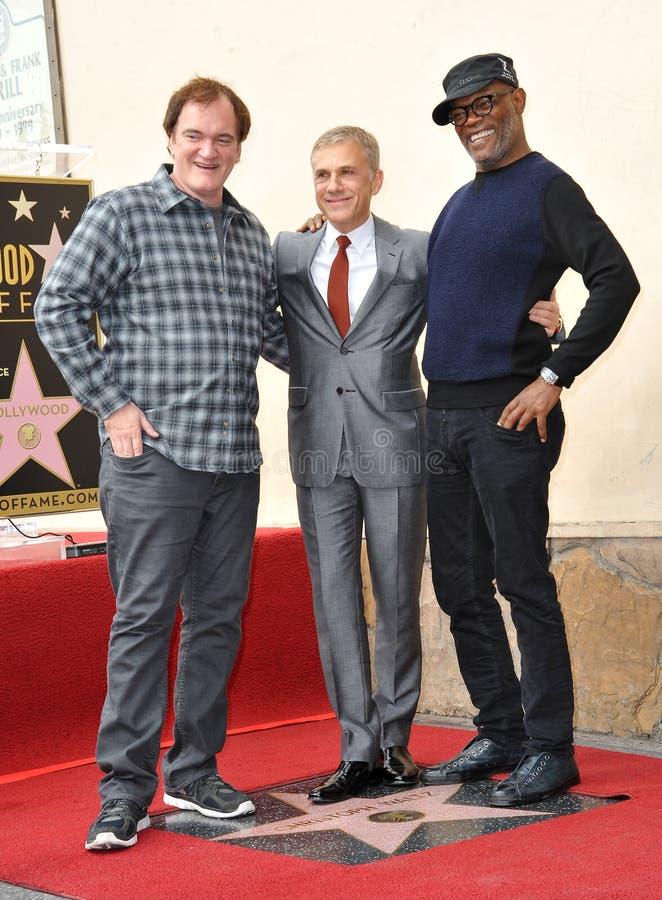 Christoph Waltz u. Quentin Tarantino u. Samuel L jackson stockbild