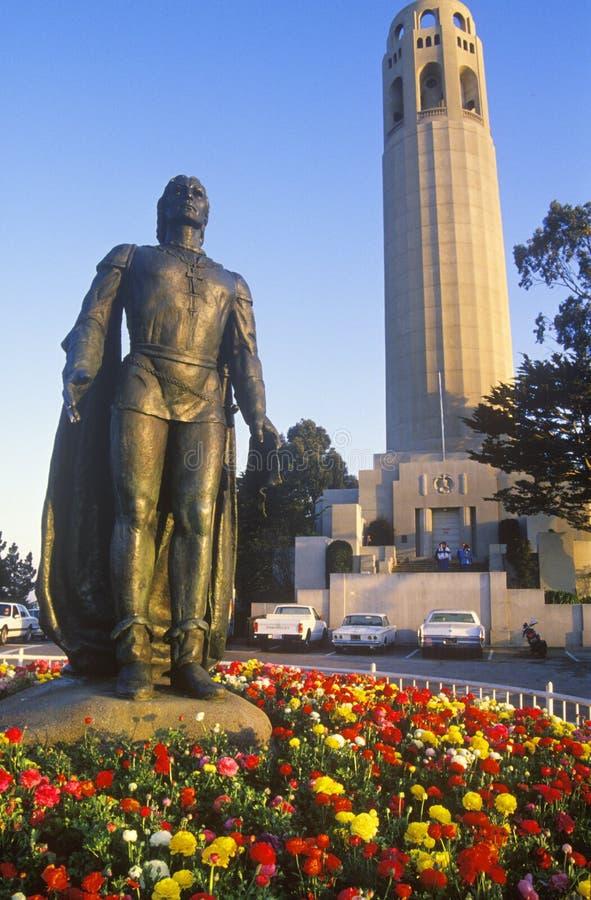 Christopher brązowa rzeźba Kolumb zdjęcia royalty free