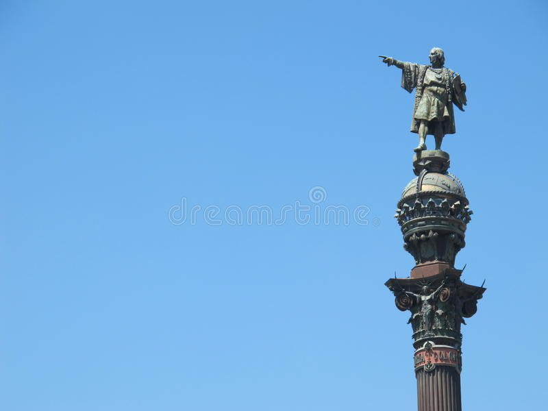 Christopher Colombus. Points the way in Barcelona, Spain stock photos