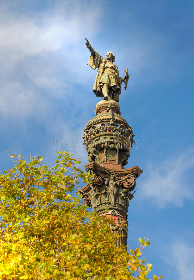 Christopher Colombus statue. In Barcelona royalty free stock image