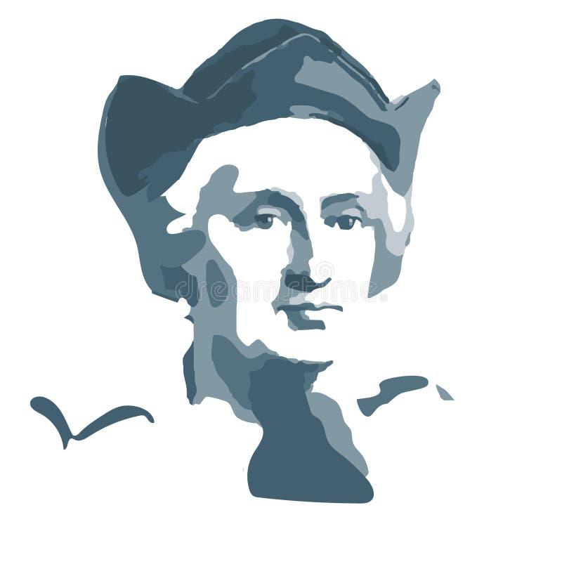 Christopher Columbus - εξερευνητής και ανακαληπτής της Αμερικής διανυσματική απεικόνιση