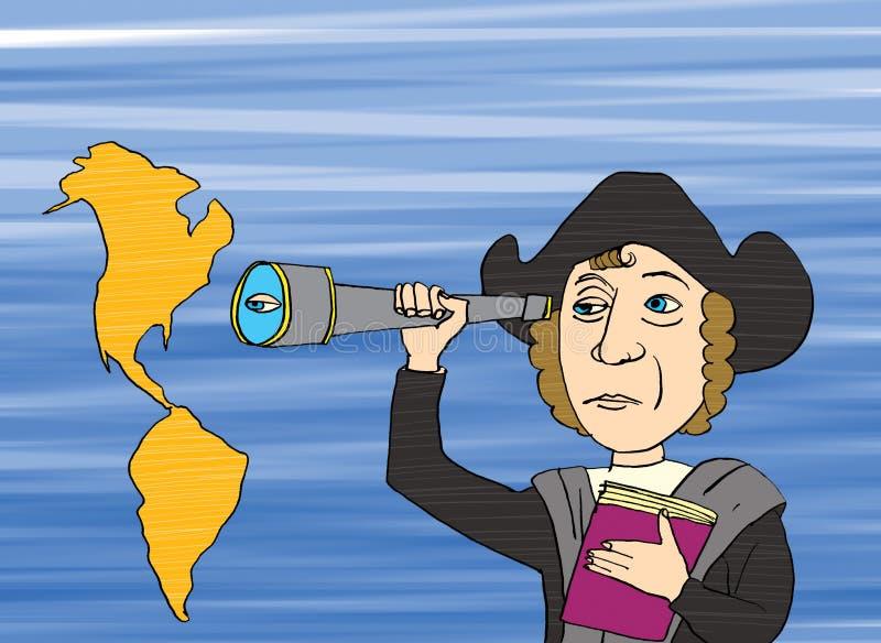 Christopher Columbus en Amerika stock illustratie