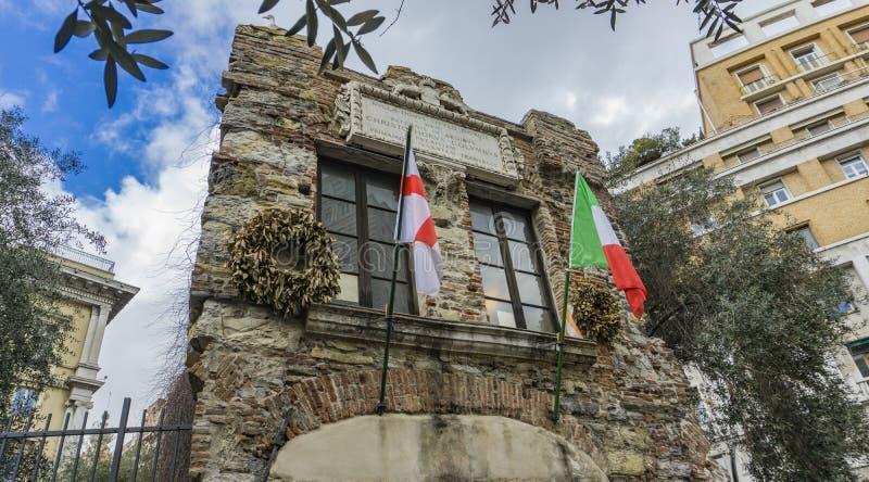 Christopher Columbus House en G?nova, Italia fotografía de archivo