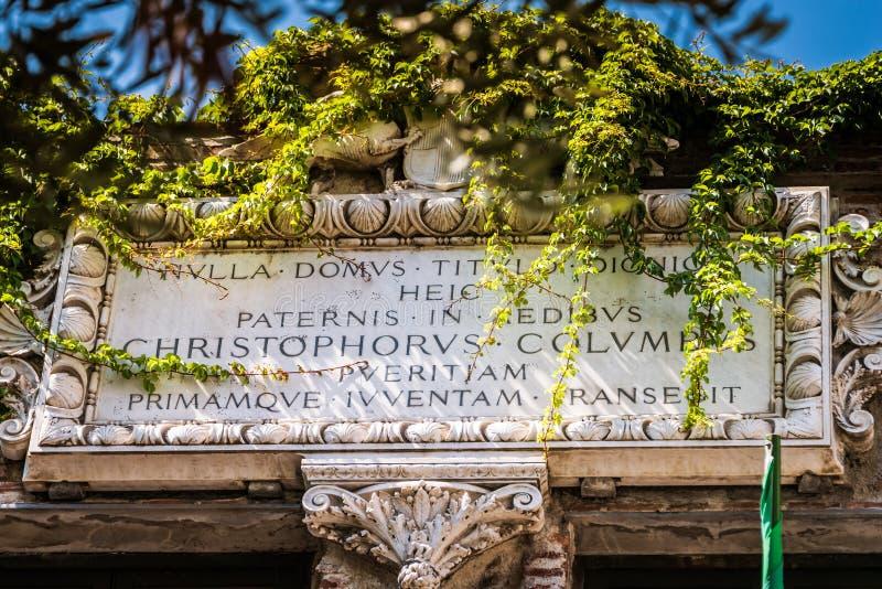 Christopher Columbus House, Genua - Casadi Cristoforo Colombo, Genua, Italien, Europa stockbild