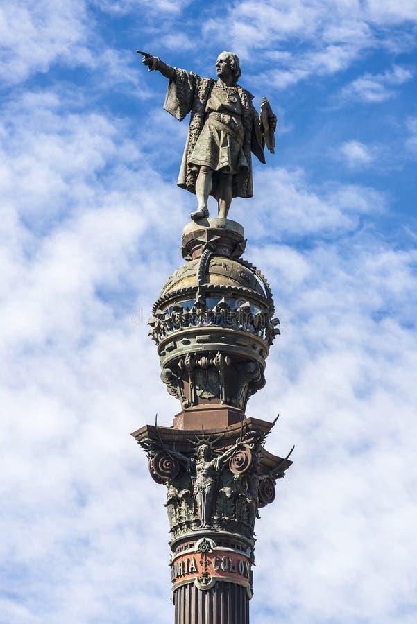 Christopher Columbus Monument Barcelona arkivfoton