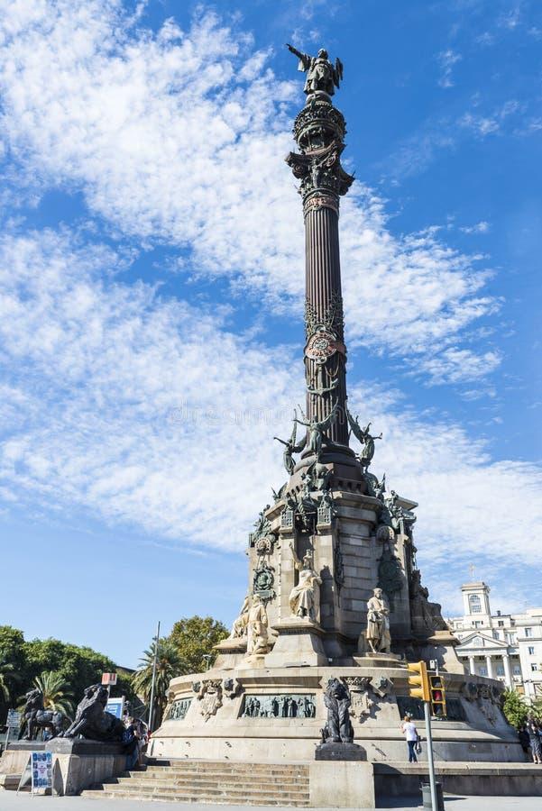 Christopher Columbus Monument, Barcelone image libre de droits