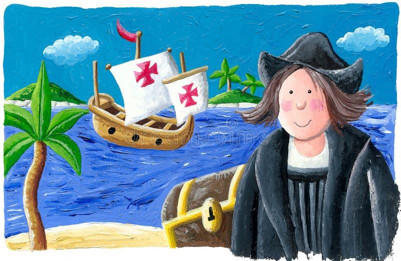 Christopher Columbus no mundo novo, 1492 ilustração do vetor