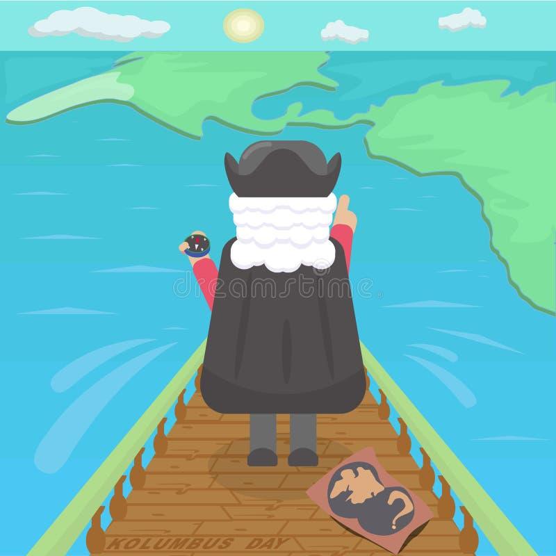 Christopher Columbus ontdekt vasteland van Amerika De vectorillustratie van de kleur royalty-vrije illustratie