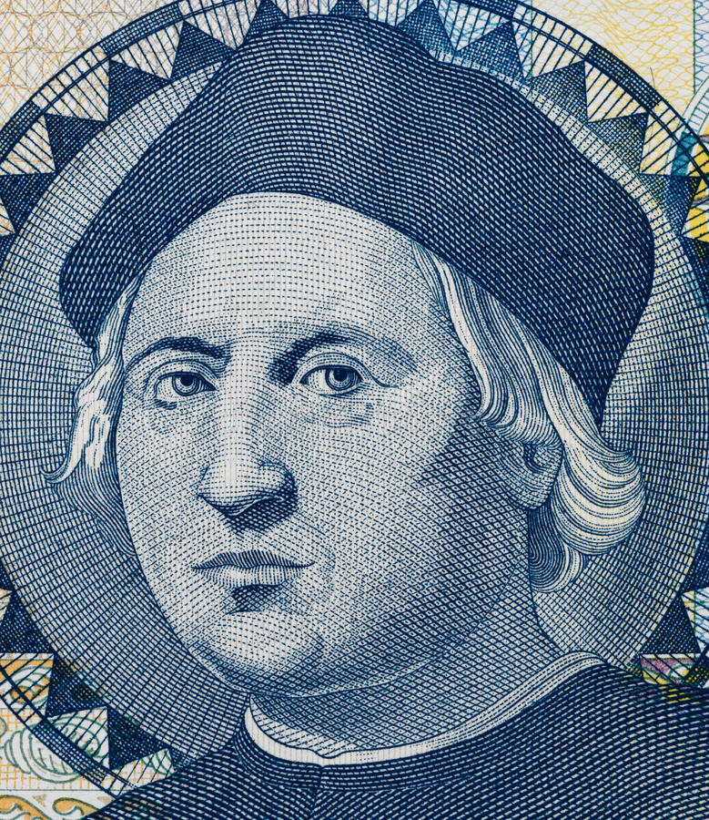 Christopher Columbus portrait on Bahamas one dollar banknote mac royalty free stock images