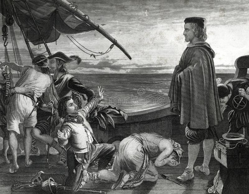 Christopher Columbus On Ship avec l'illustration d'équipage illustration stock