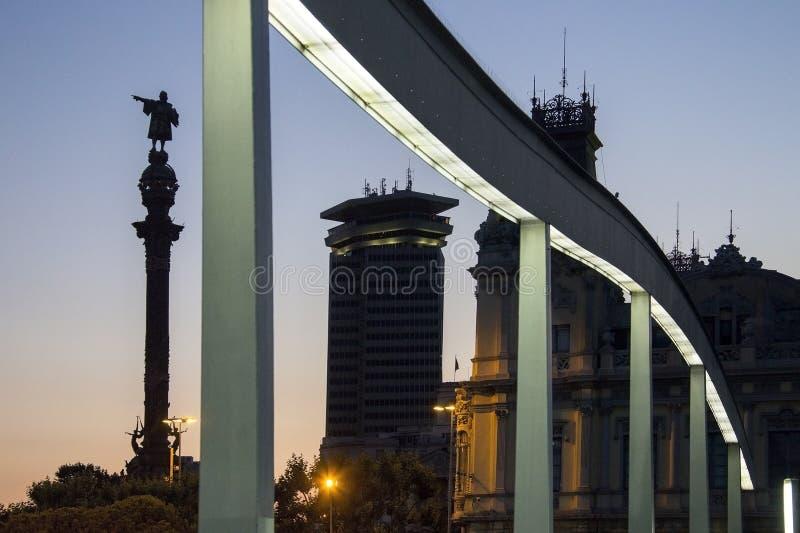 Christopher Columbus Statue - Barcelone - l'Espagne image libre de droits