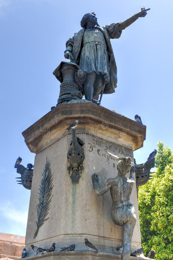 Christopher Columbus Statue, due punti di Parque, Santo Domingo, Caribb immagini stock
