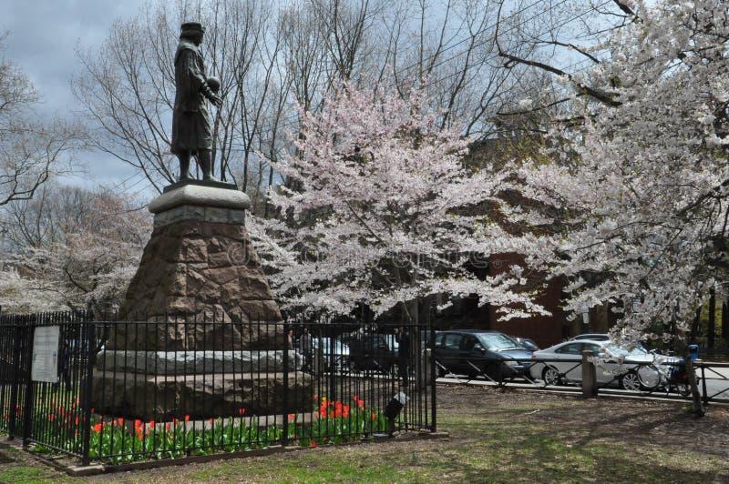 Christopher Columbus Statue em New Haven, Connecticut fotos de stock
