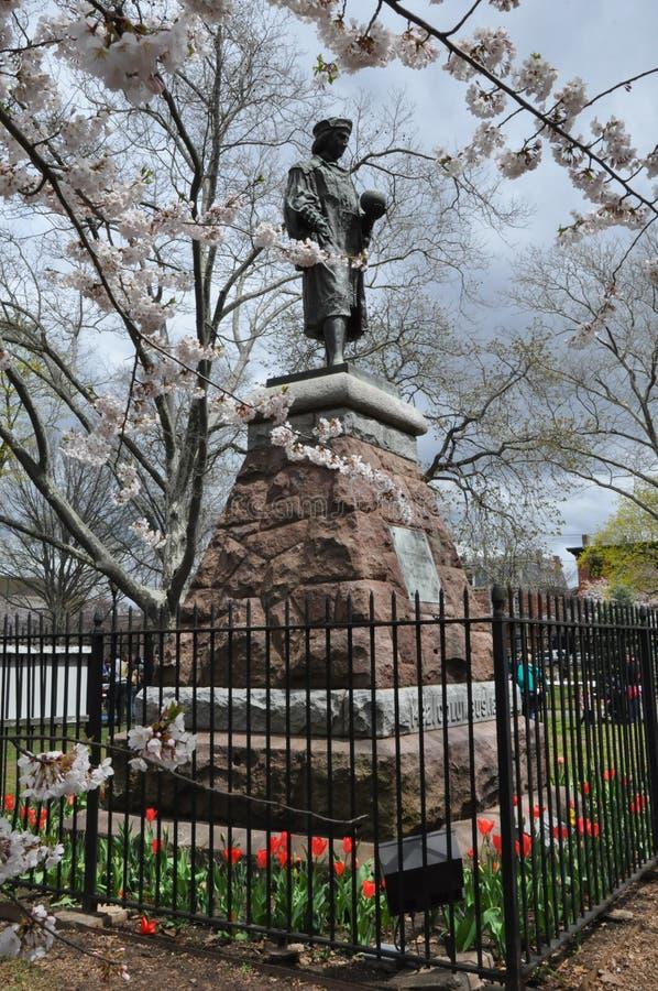 Christopher Columbus Statue em New Haven, Connecticut foto de stock