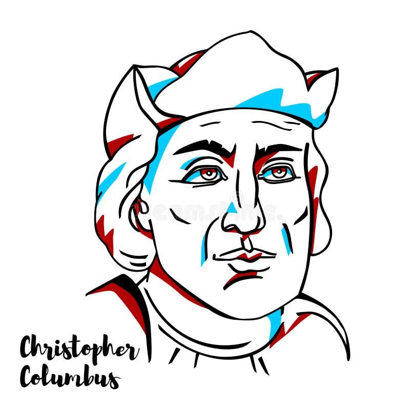 Christopher Kolumb Portraitn ilustracji