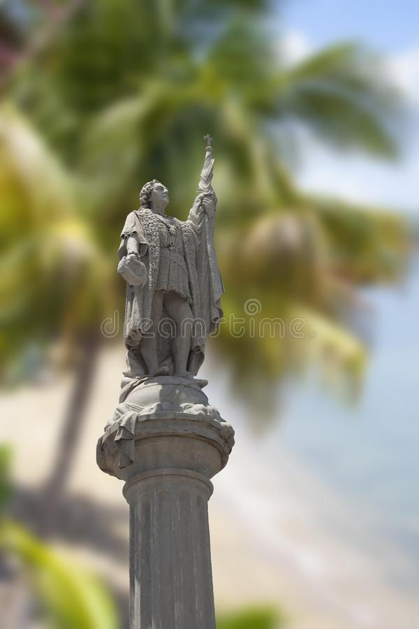 Christopher Kolumbus als er in die Neue Welt kam stockbilder
