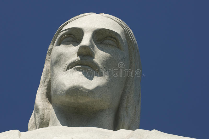 Christus de Verlosser bij Corcovado-Gezichtsclose-up stock afbeeldingen