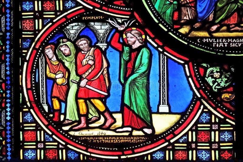 Christus, der die Kaufleute vom Tempel fährt stockfotos