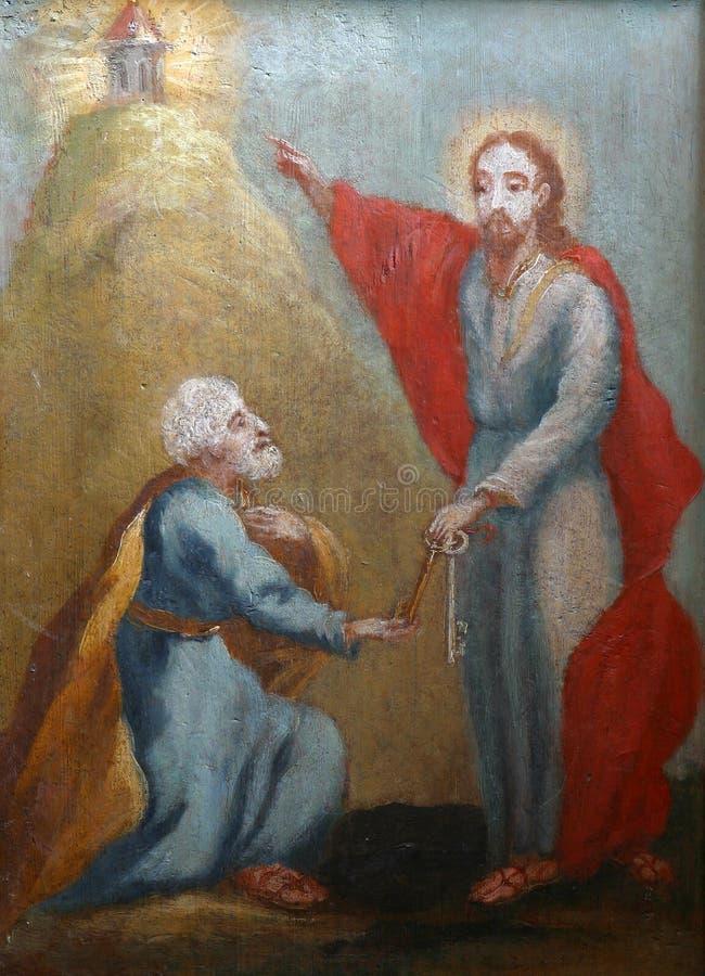 Christus die de Sleutels geven aan St Peter stock fotografie