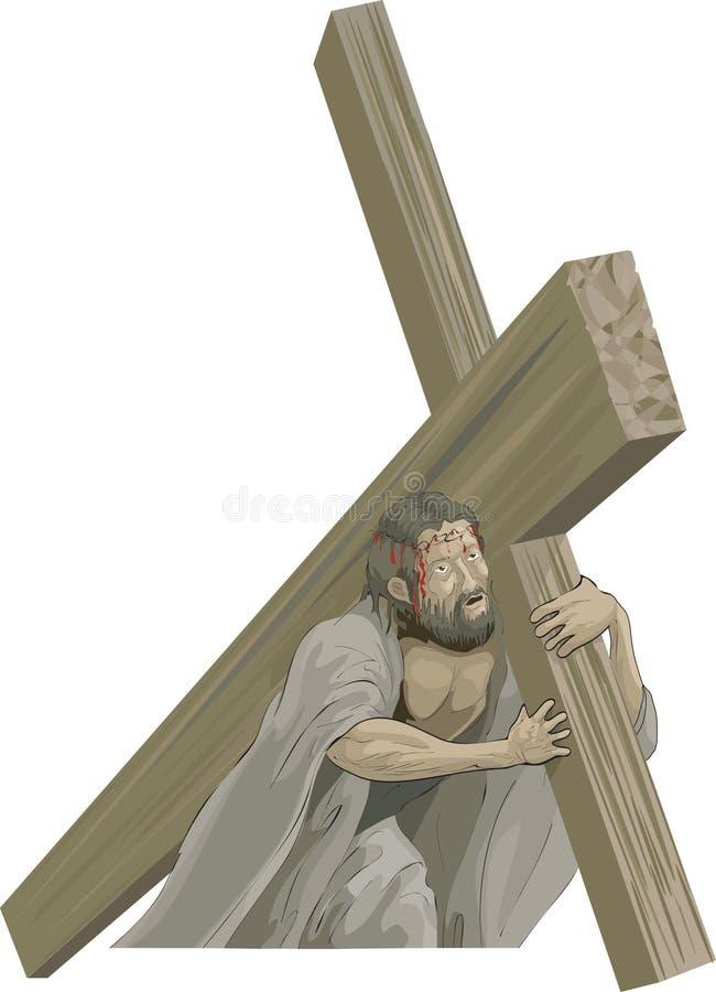 Christus die het kruis draagt royalty-vrije illustratie