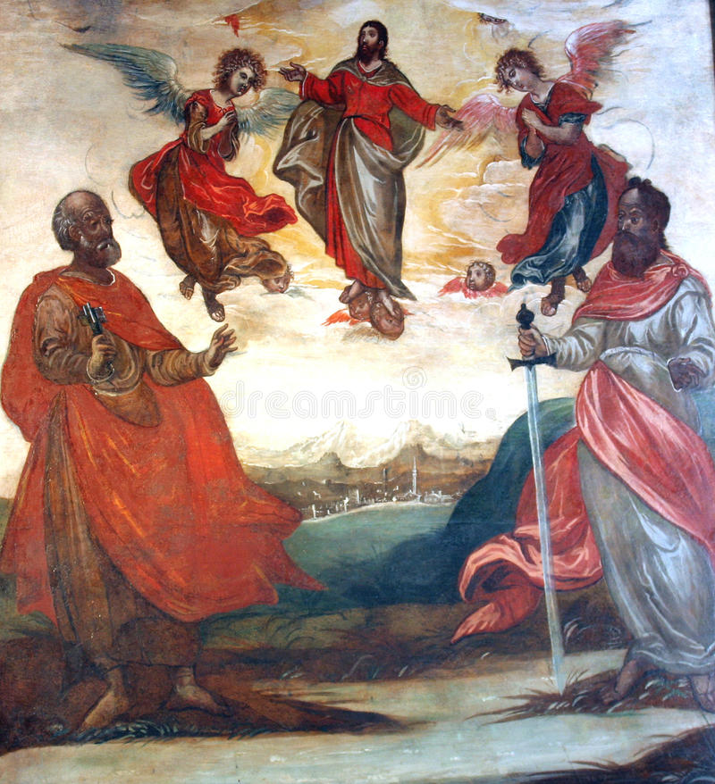 Christus in hemel met Heiligen Peter en Paul royalty-vrije illustratie