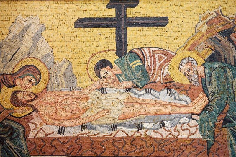 Christus heruntergenommen vom Quermosaik in St George griechisch-orthodoxer Kirche in Madaba, Jordanien lizenzfreies stockfoto