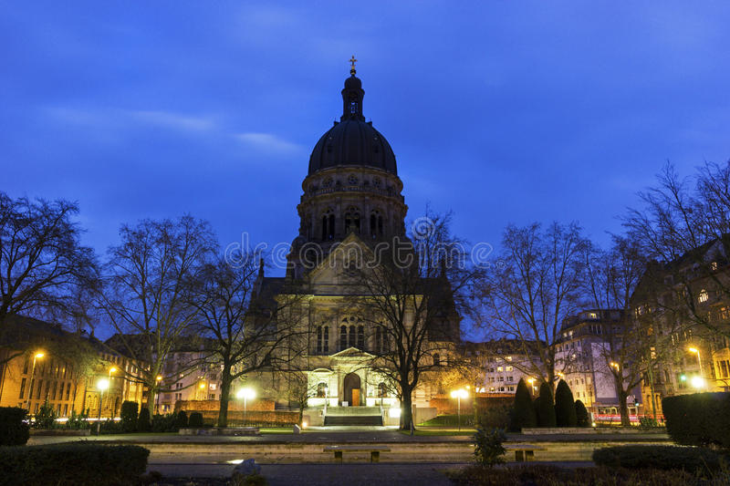 The Christuskirche in Mainz in Germany. On a lovely evening royalty free stock photo