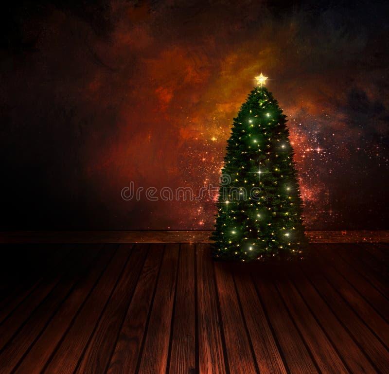 Chritmas design - Night Christmas tree royalty free illustration