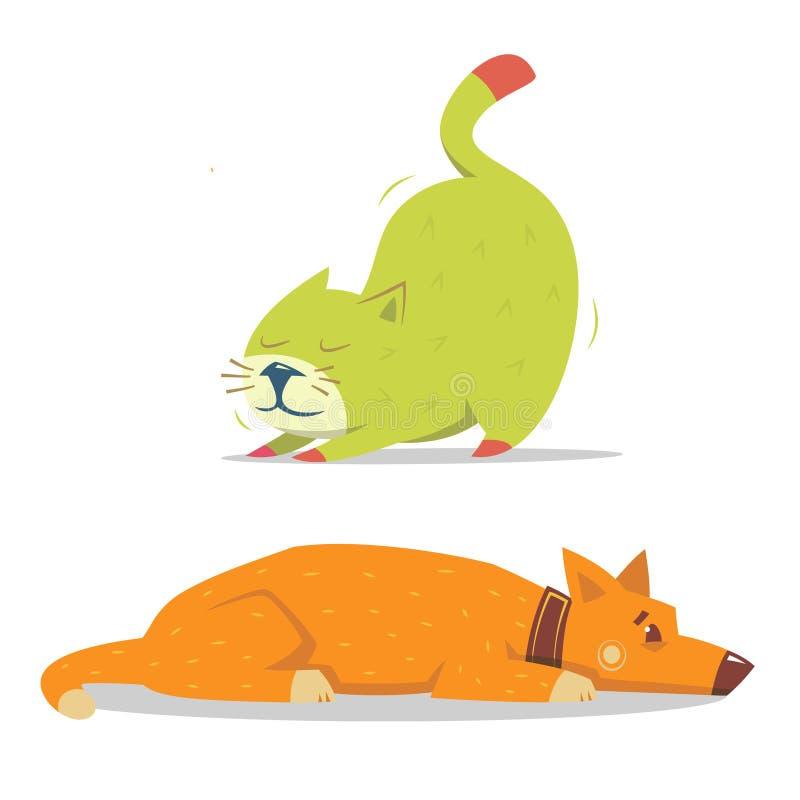 Chrobotliwy kot i kłaść pies ilustracja wektor
