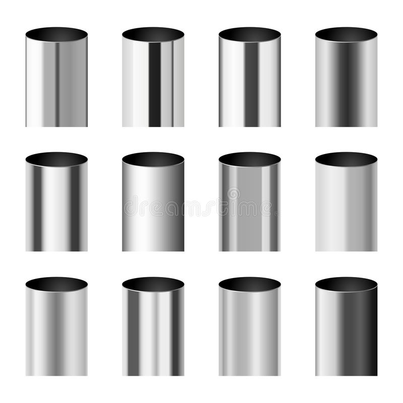 Chromów metale polerujący gradienty zgodny z butlą piszczą wektoru set ilustracji