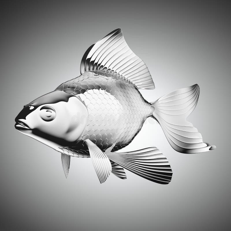 Chrom-überzogener Goldfisch über Grau stock abbildung