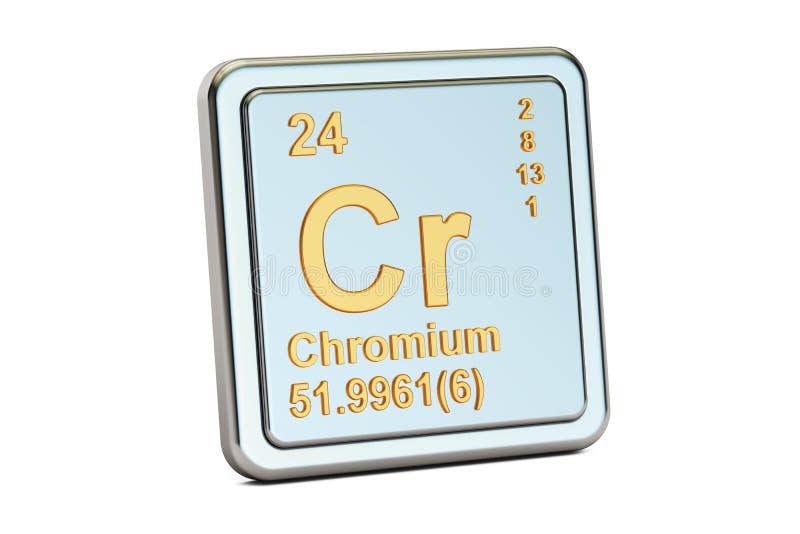 Chrom-Cr, Zeichen des chemischen Elements Wiedergabe 3d lizenzfreie abbildung