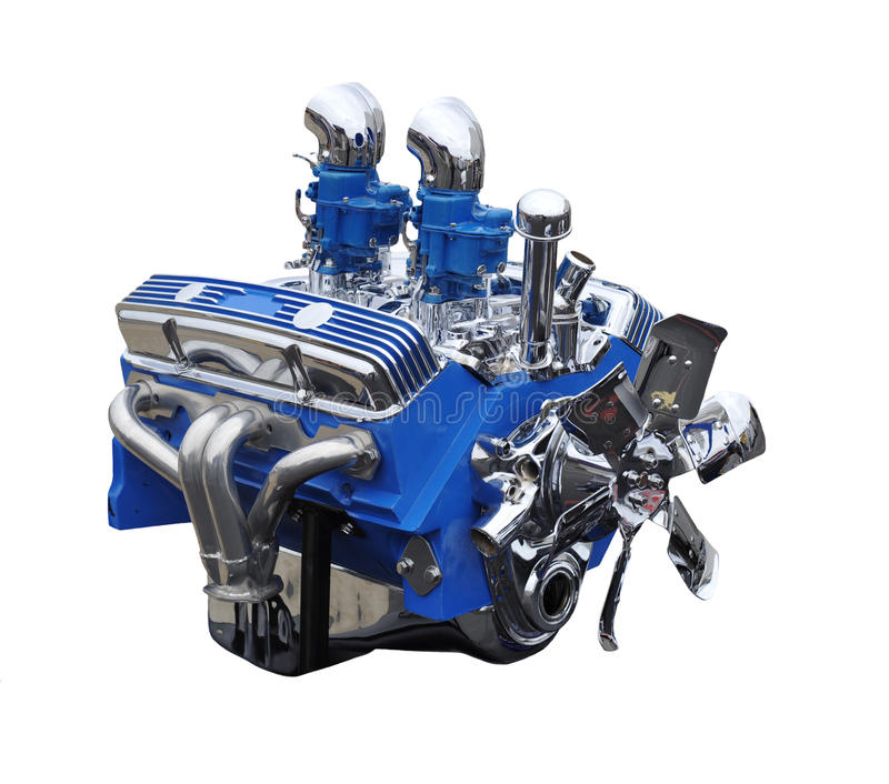 Chrom und blauer V8-klassischer Auto-Motor stockbilder