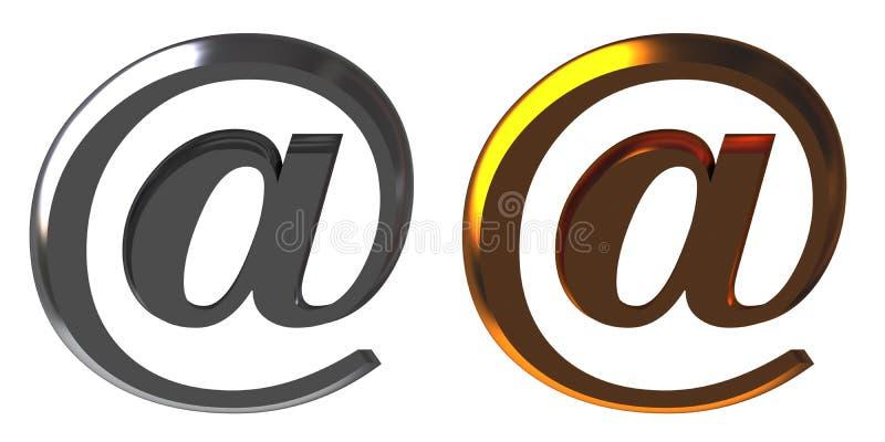 Chrom- und Gold-eMail alias vektor abbildung