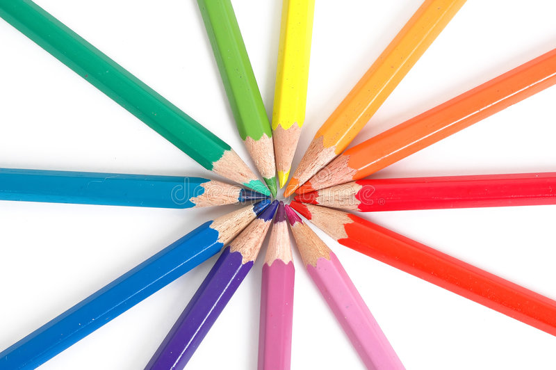 chromatic färga blyertspennacirkel royaltyfri bild