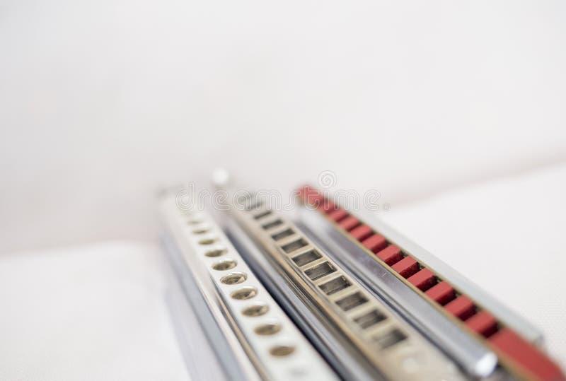 Chromatische en diatonische harmonika's stock afbeelding