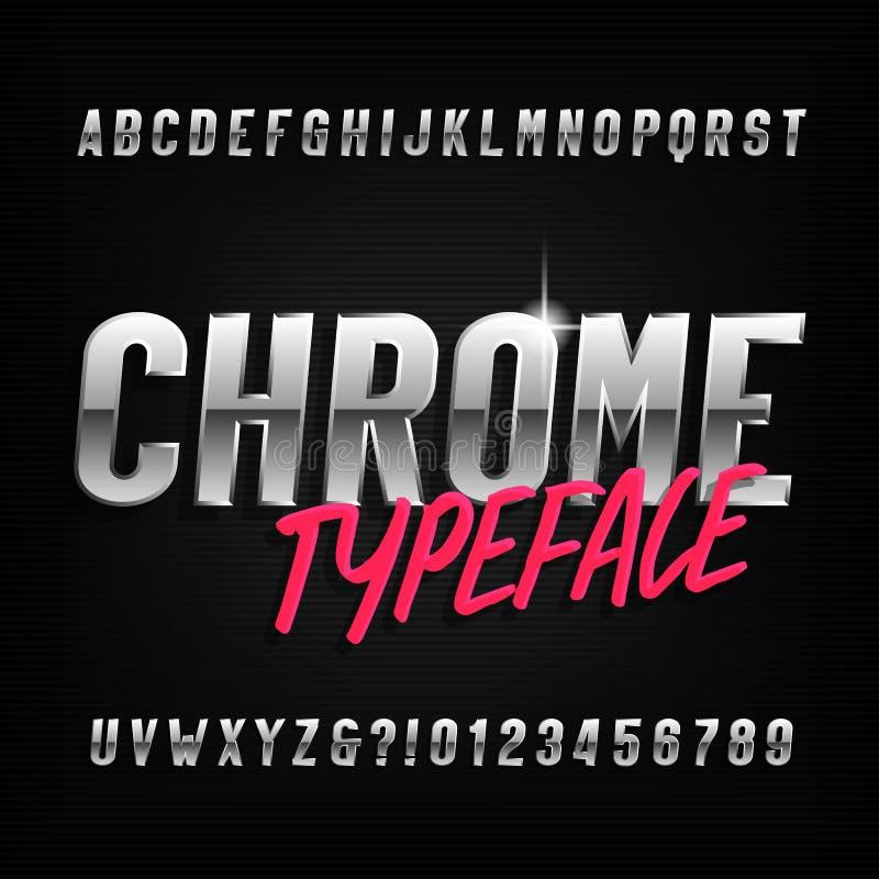 Chrome alfabetstilsort Bokstäver och nummer för Chrome effekt förtätade stock illustrationer