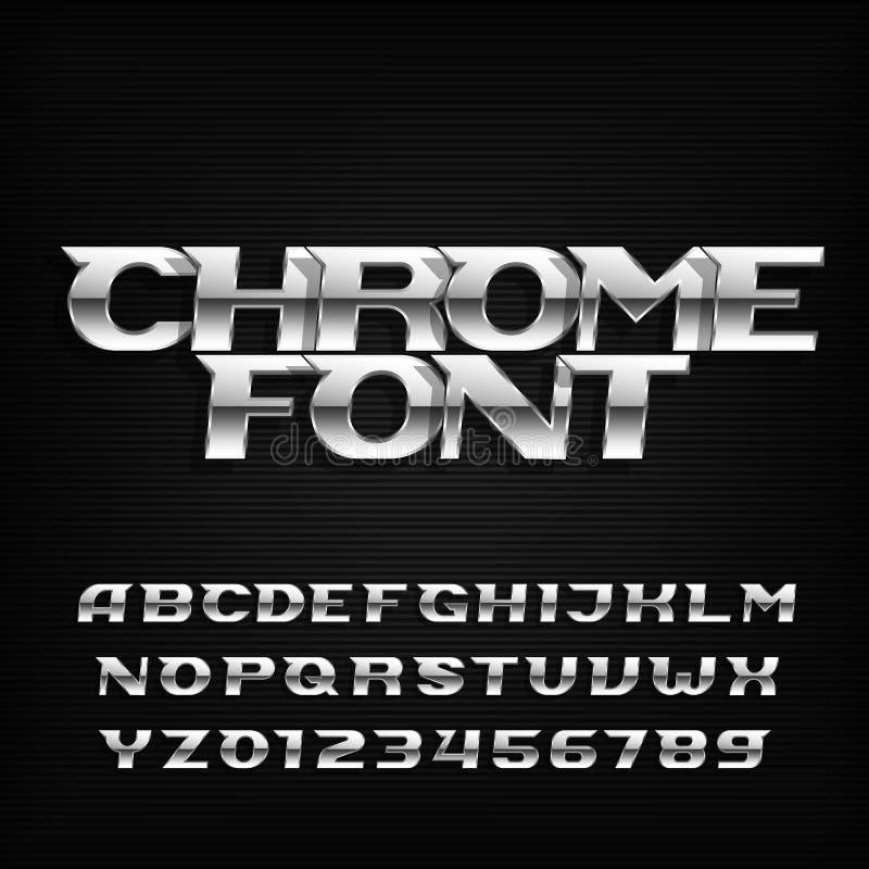 Chrome alfabetstilsort Metalliska effektkursivbokstäver och nummer på en mörk bakgrund royaltyfri illustrationer