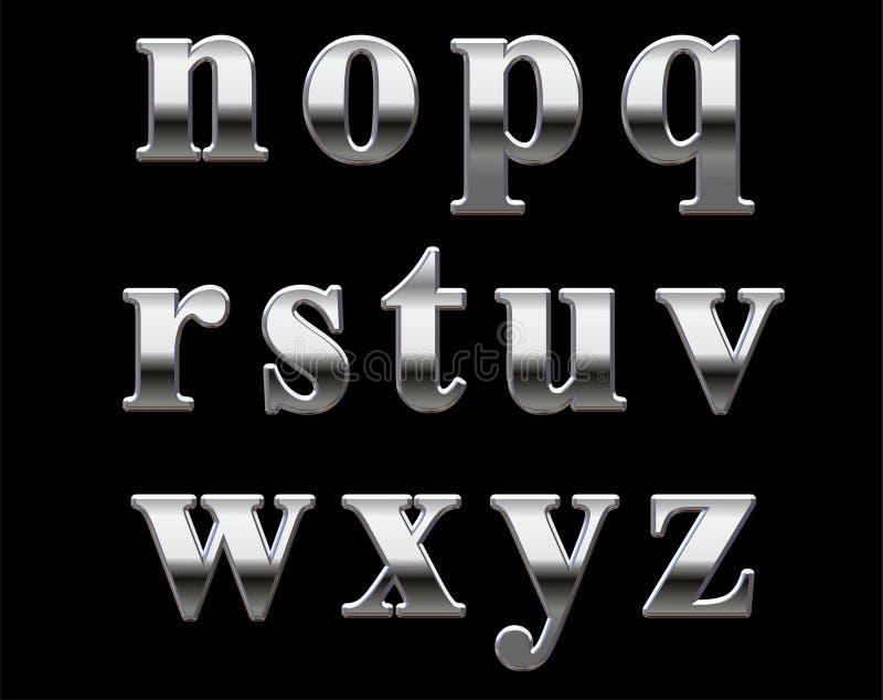 Chrome alphabet letters stock image