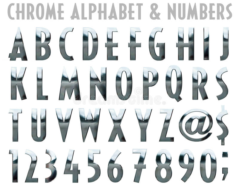 Chrome Alphabet and Numbers vector illustration