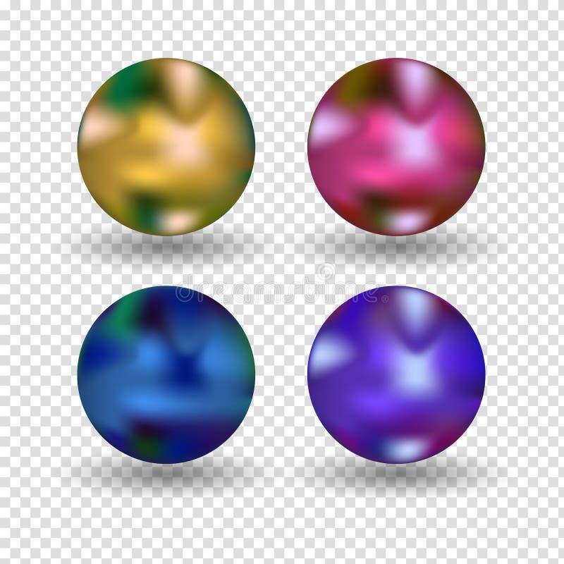 Chrome-Ballrealistisches lokalisiert auf weißem Hintergrund Kugelförmige Kugel 3D mit transparentem grellem Glanz und Höhepunkten stock abbildung