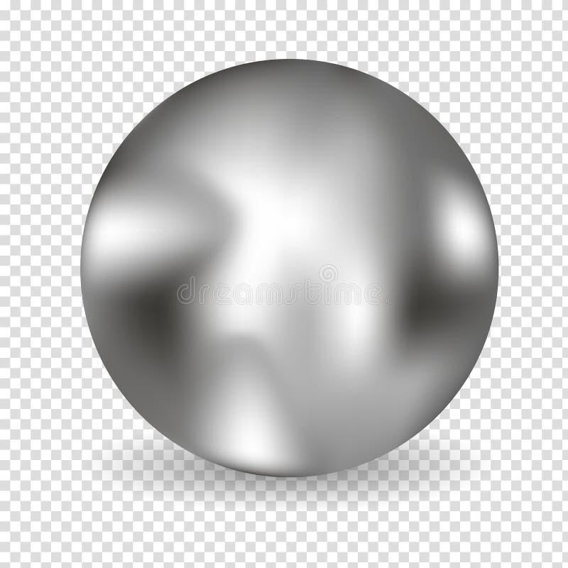 Chrome-Ballrealistisches lokalisiert auf weißem Hintergrund Kugelförmige Kugel 3D mit transparentem grellem Glanz und Höhepunkten vektor abbildung