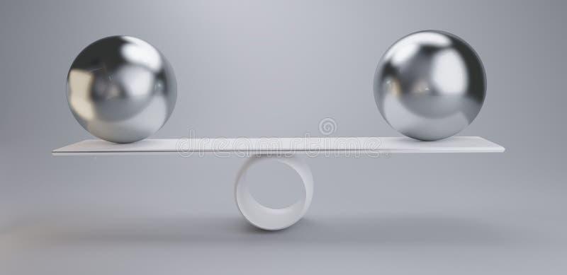 Chrome balls on a scale 3d-illustration light grey white vector illustration