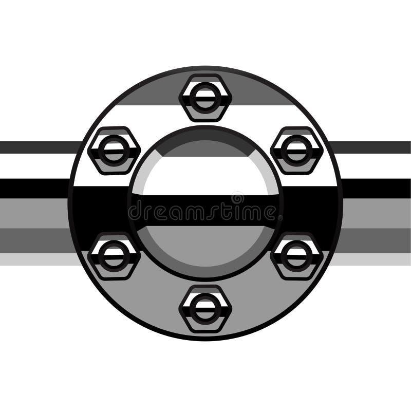 Chrome-Beendigungsflanschrohr vektor abbildung