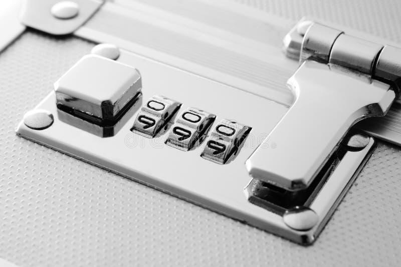 Chrome combination lock. Of aluminium box, ideal of security concept stock images