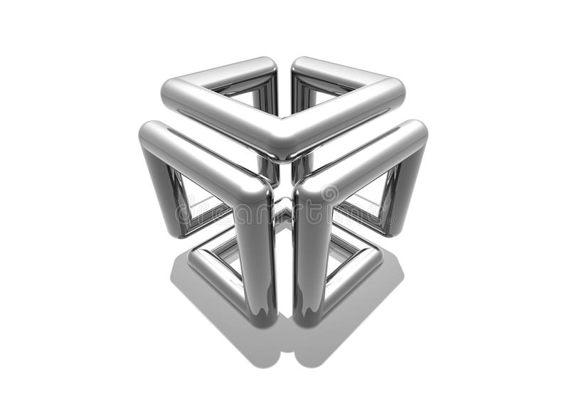 Chrome Cube. A chrome cube, with a continuous line, 1 single pipe used and bent into shape royalty free illustration