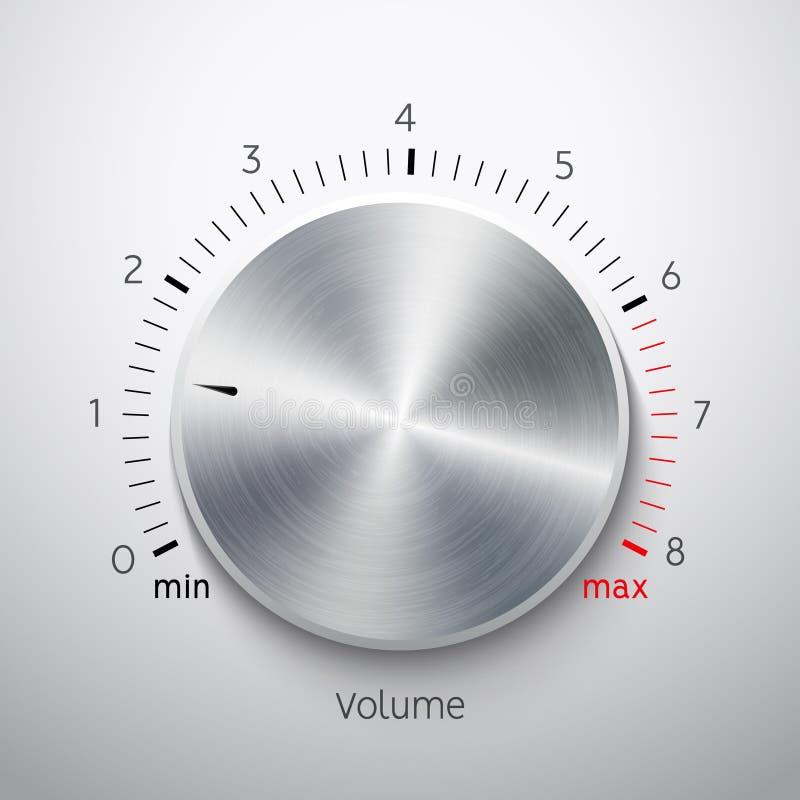 Chrome d'acier de texture en métal de bouton de volume Niveau sonore de bouton de musique Interface saine de tuner de panneau illustration stock