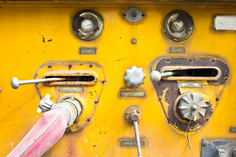 Chrome dials and valves stock image