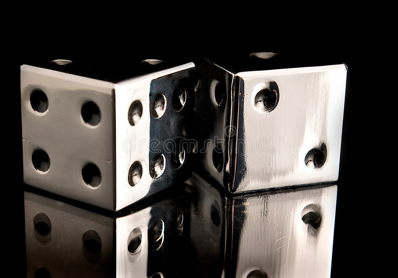 Chrome Dice. Product shot of chrome dice royalty free stock photo