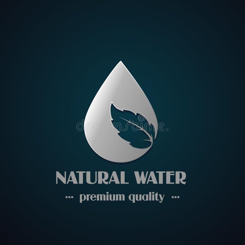 Chrome droppsymbol med bladet på mörk bakgrund, naturlig etikett för mineralvatten stock illustrationer